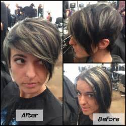 highlighting pixie hair at home refreshed mint green highlight pixie cut before and