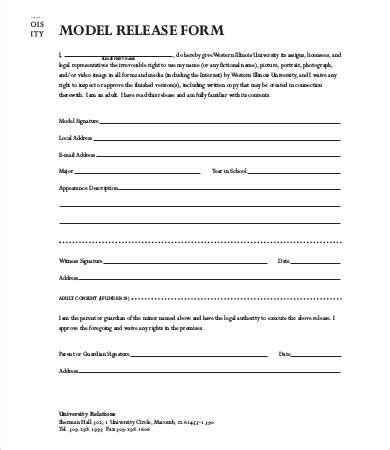 free model release form template model release form template 8 free sle exle
