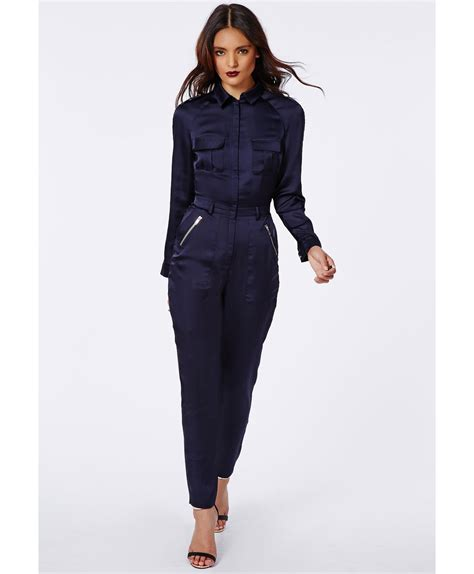 navy blue jumpsuit with sleeves clothing