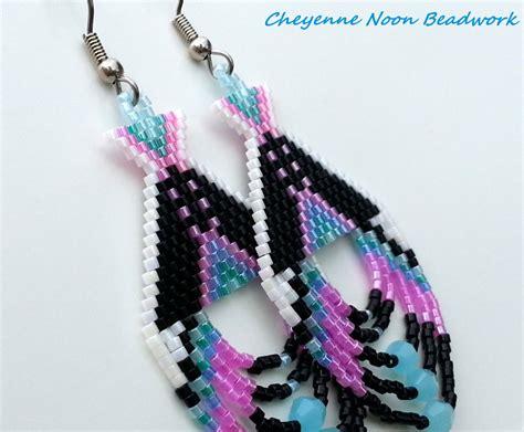 american beaded earrings tipis black and rainbow
