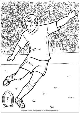 rugby colouring pages