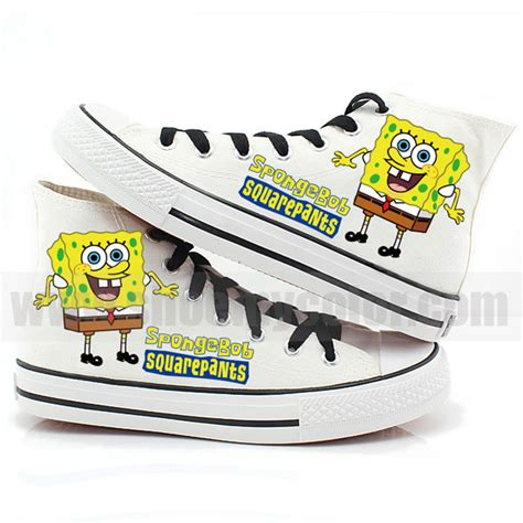 spongebob shoes spongebob high top painted shoes spongebob