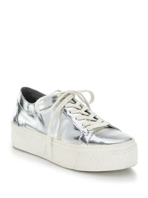 metallic sneakers lyst loeffler randall metallic leather platform