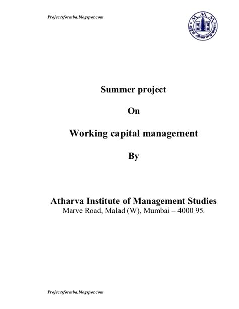 Mba Finance Project Report On Working Capital Management by A Project Report On Working Capital Management