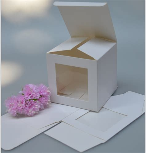 White Paper Crafts - 9 9 9cm cube white paper box with clear window white paper