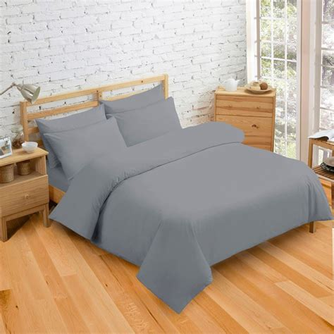 plain grey comforter plain dyed grey colour bedding duvet quilt cover set