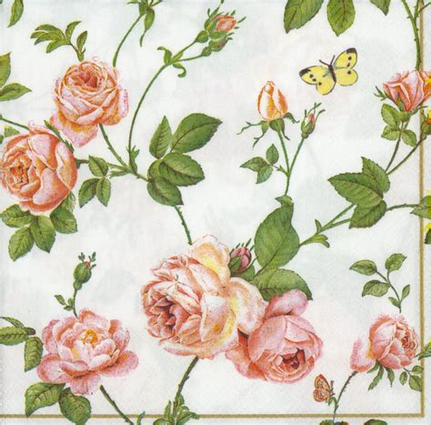 Decoupage Paper Flowers - decoupage paper napkins of rambling pink roses blue butterfly