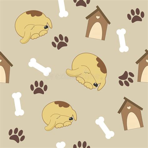 pattern for dog house seamless pattern with dog dog house bone stock vector