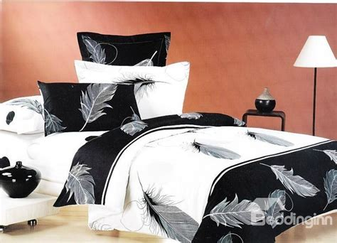 black feather comforter elegant feather print classic black and white color 4