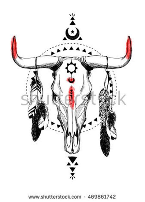 Cow Skull Stock Images Royalty Free Images Vectors Bull Skull Tattoos With Feathers