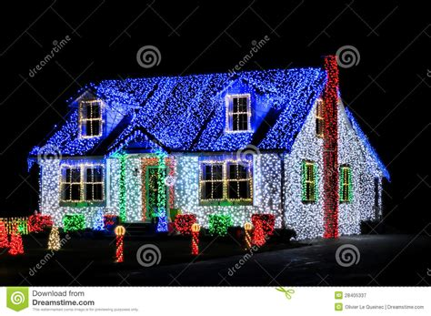 christmas lights show display on house at night stock