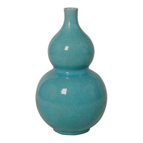 Large Turquoise Gourd Vase   Seven Colonial