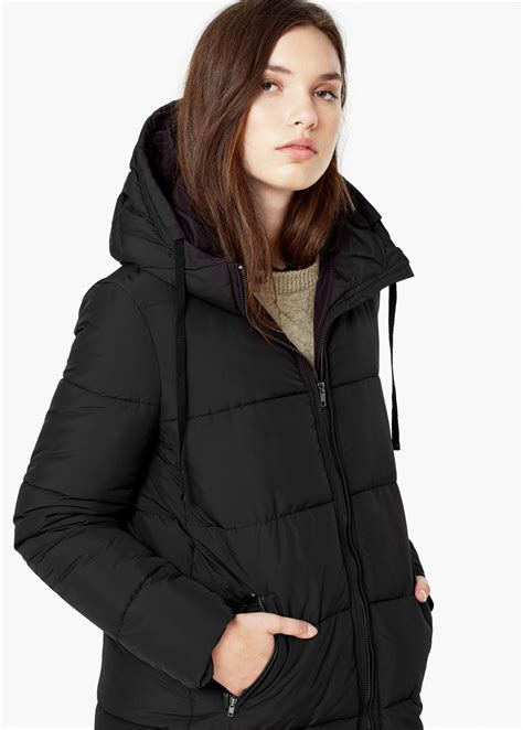 Mango Quilted Black by Mango Quilted Coat In Black Lyst