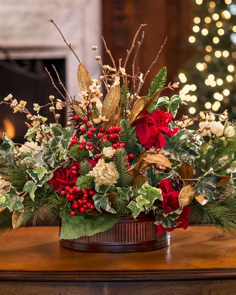 vintage holiday silk flower centerpiece at officescapesdirect
