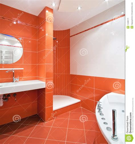 orange in bathtub bathroom in orange and white colors stock image image 14489171