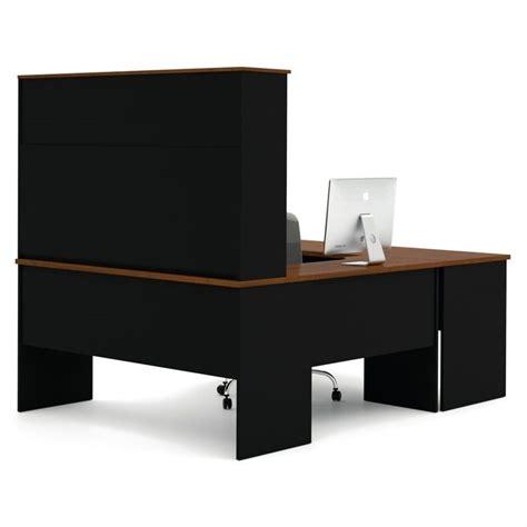 bestar innova u shaped workstation desk bestar innova u shape desk in tuscany brown and black