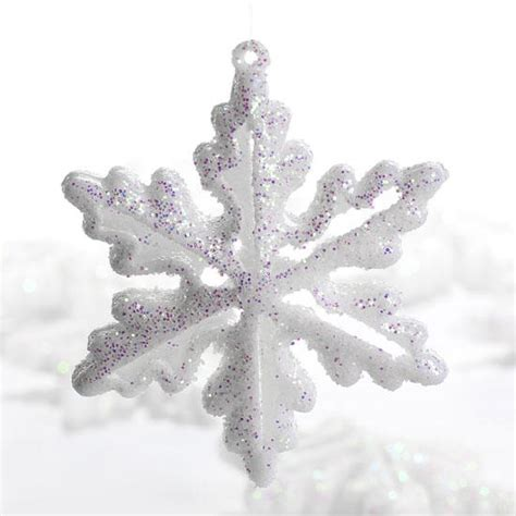 dimensional white glitter snowflake ornaments snow