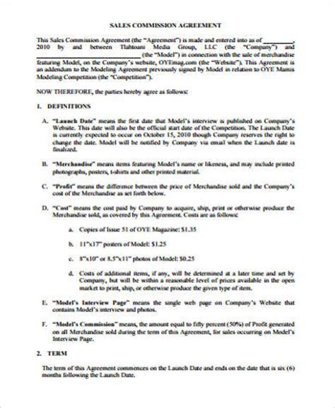 sle commission agreement template sle commission agreement 10 exles in word pdf