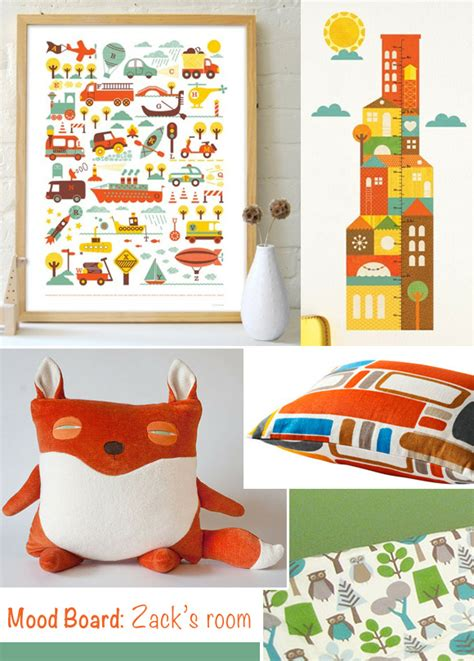 mood board from a nursery to a toddler boy room at home