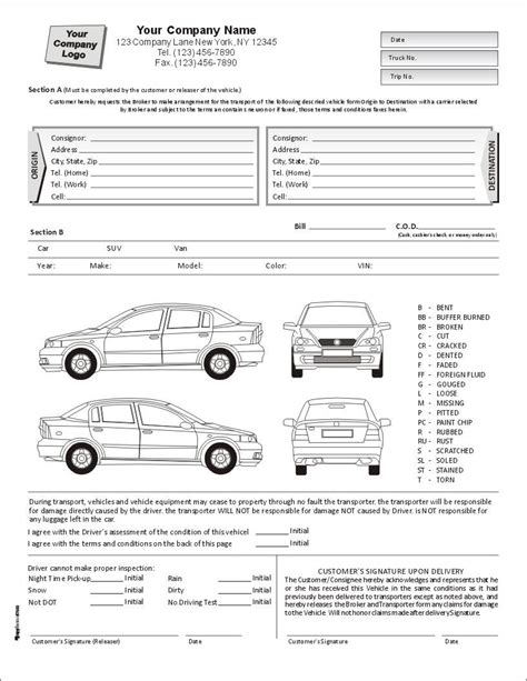 truck condition report template auto condition report form with terms on back item 7563