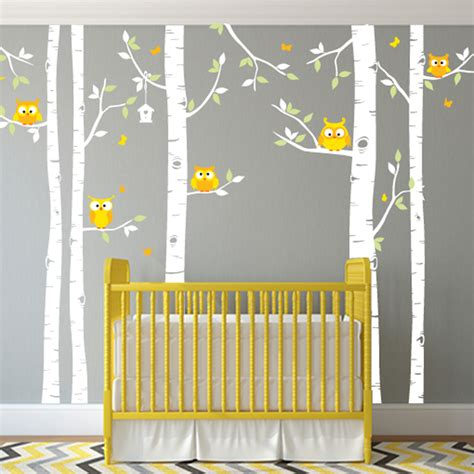 tree decals for nursery wall birch tree and owl forest wall decal for nursery or