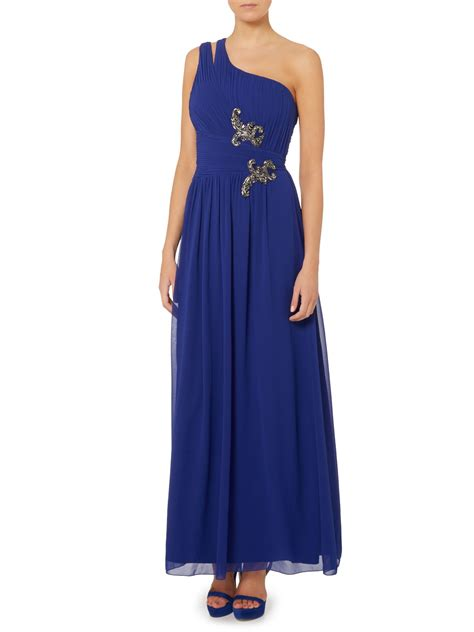 Maxi Ones one shoulder maxi dress in blue lyst