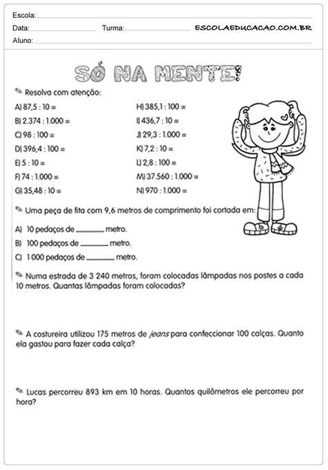 Atividades com números decimais só na mente - Escola Educação