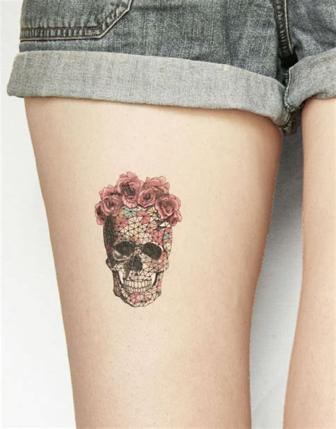 tattoo geometric skull awesome tattoo ideas colorful geometric skull with roses