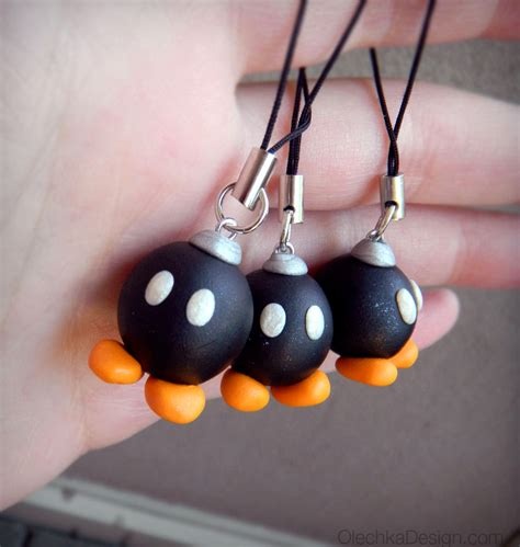 Wii Earringsphone Charm by Bob Omb Bomb Mario Bros Polymer Clay Charm With