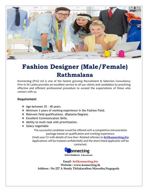 pattern maker male job vacancy in sri lanka fashion designing courses in sri lanka fashion today