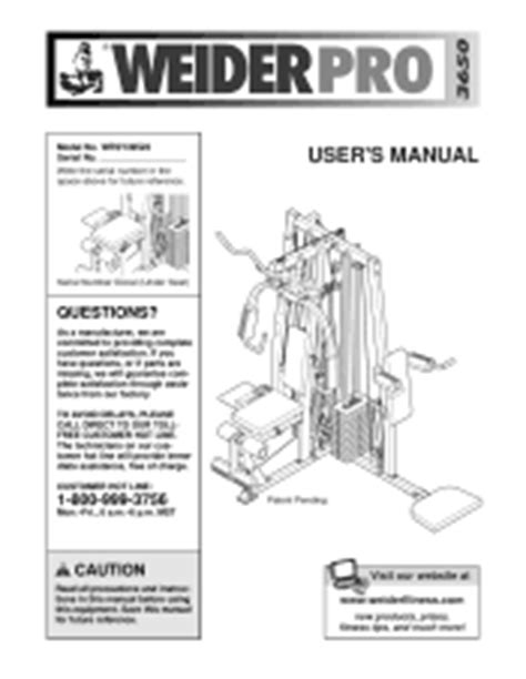 weider pro 3650 manual