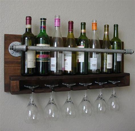 modern wine rack wall mount industrial rustic modern 8 bottle wine rack with 6 glass