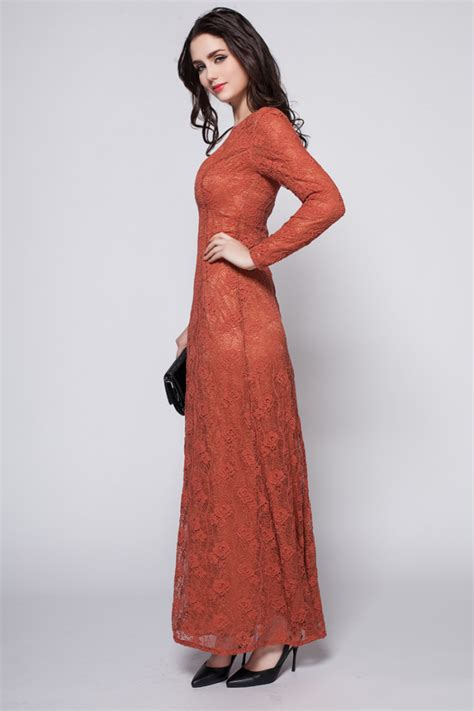 Bright Formal Dresses - bright rust sleeve lace formal dress