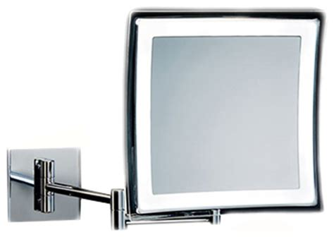 wall mounted rectangular led lighted 5x magnifying mirror