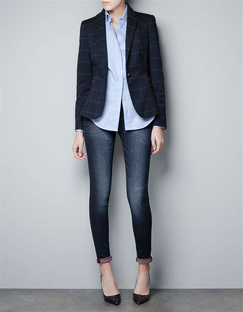 zara with checked patches in zara checked wool blazer with patches in blue lyst