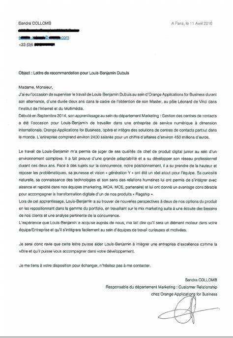Lettre De Recommandation Webmarketing lettre recommandation orange applications for business louis benjamin ponticelli