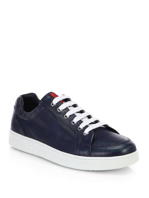 prada sneakers prada leather laceup sneakers in blue for lyst