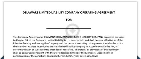 Delaware Llc Operating Agreement Free Template Delaware Llc Operating Agreement Template