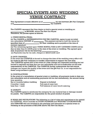 Contract Agreement Sle 13 Exles In Pdf Word Event Venue Contract Template