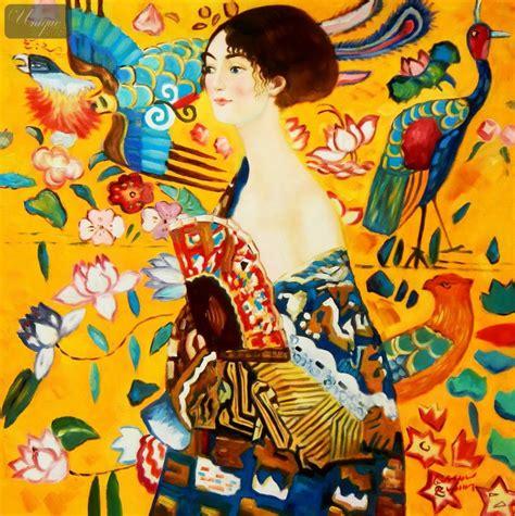 gustav klimt lady with fan art nouveau oil paintings www pixshark com images