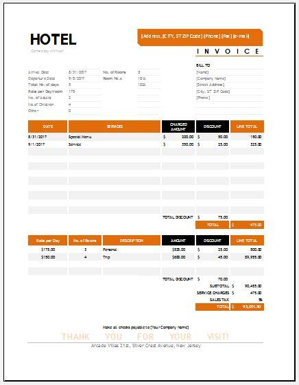 hotel invoice hotel invoice templates for ms excel word excel templates