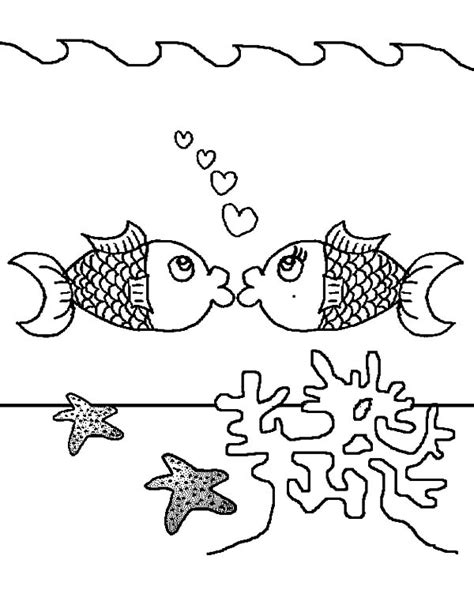 kissing fish coloring page pages coral reef scene coloring pages