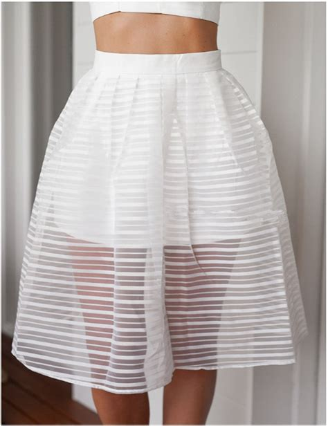 white swing skirt 2015 summer style women fashion high waist hollow out
