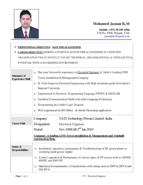 fresher electrical engineer resume format resume objective exles electrical engineering free