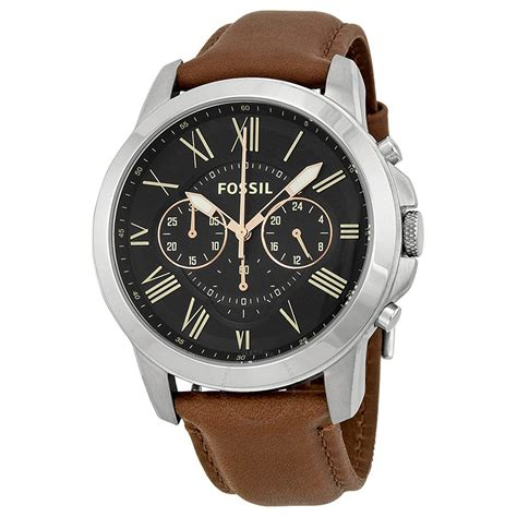 Fossil Black Brown Leather fossil grant chronograph black brown leather s fs4813 grant fossil watches