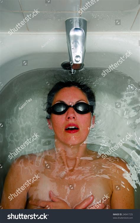 underwater bathtub girl woman bathtub wearing swim goggles stock photo 24041725