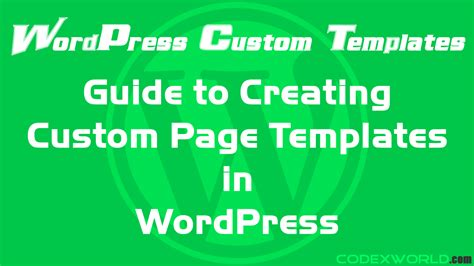 custom page templates guide to create custom page templates in