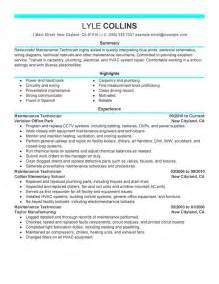 Maintenance Technician Resume unforgettable maintenance technician resume exles to
