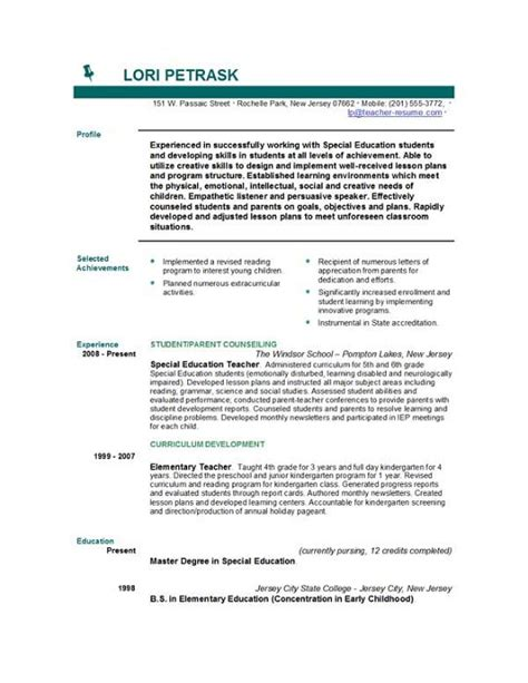 Resume Objective For Instructor Photo Career Objective Exles For Teachers Images