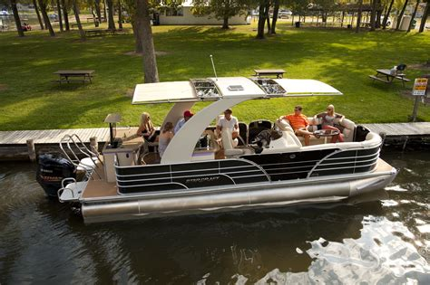 high end luxury pontoon boats redefining luxury pontoon boats with automated shade